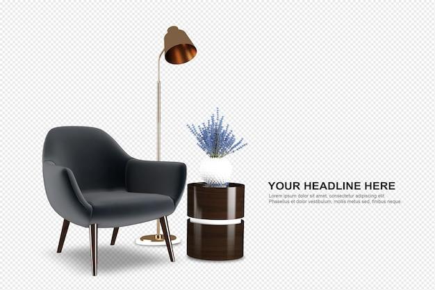 Set of interior furniture in 3d rendering