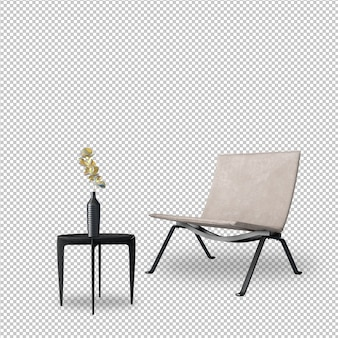 Set of interior furniture in 3d rendering Premium Psd