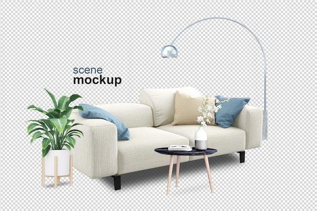 Set of interior mockup 3d rendering