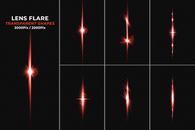 Set of lens flares with transparent red light streak
