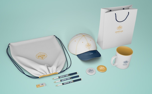 Set of merchandising products with company logo