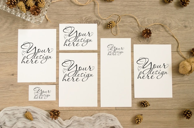 Set of mockups in warm brown tones with pine cones, runner on a wooden
