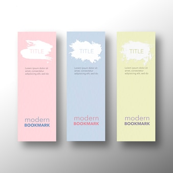 Set of modern bookmarks, yellow pink and blue