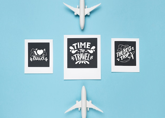 Set of motivational lettering quotes for holidays traveling concept