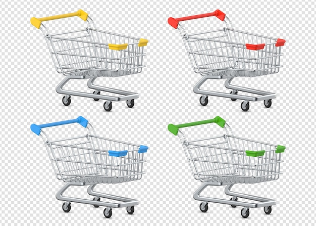 Set of multi-colored shopping trolleys carts