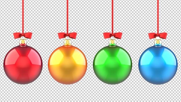 Set of multicolored christmas tree balls toys
