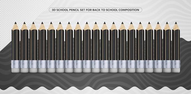 学校の化粧に戻るための3d黒鉛筆のセット