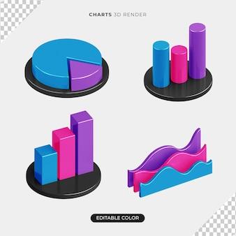 Набор инфографики 3d-диаграмм