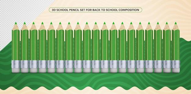 学校の化粧に戻るための3d緑の鉛筆のセット