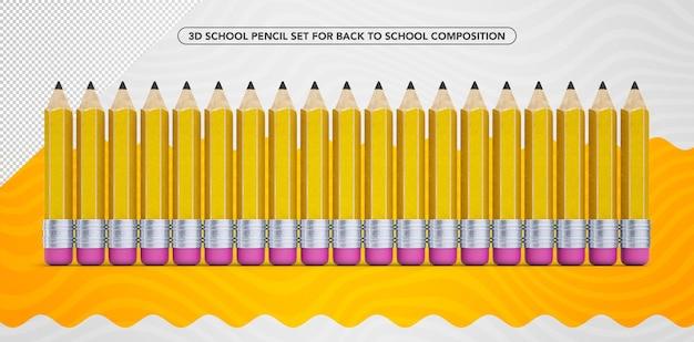 学校の化粧に戻るための3d黄色の鉛筆のセット