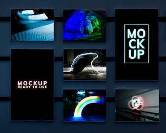 Set of artistic neon lights mockup