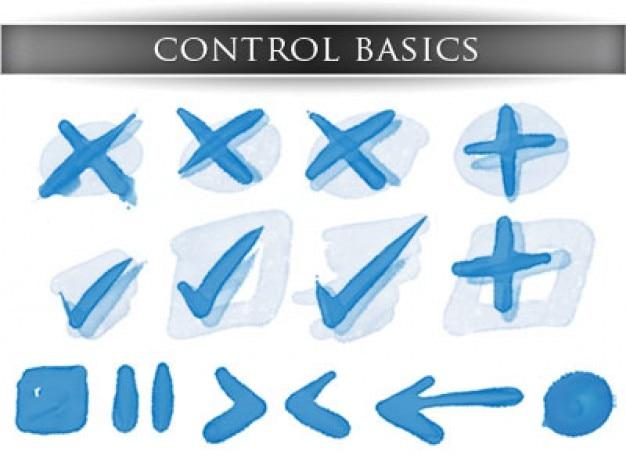 ブルーの基本的なコントロールアイコンのセット