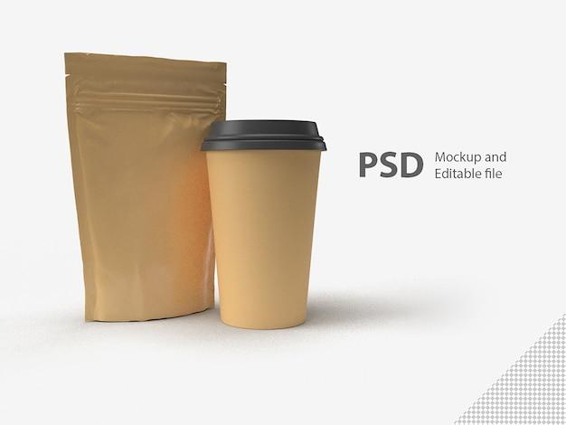 分離されたコーヒーカップとバッグのセット