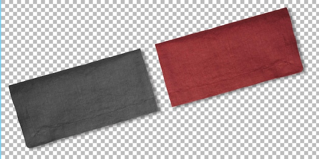 Набор цветных салфеток для сервировки еды, изолированных на прозрачности.