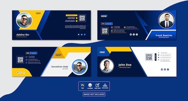 Набор дизайна шаблона подписи электронной почты или дизайна обложки facebook или личной идентичности