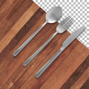 透明に分離されたフォーク、ナイフ、スプーンのセット