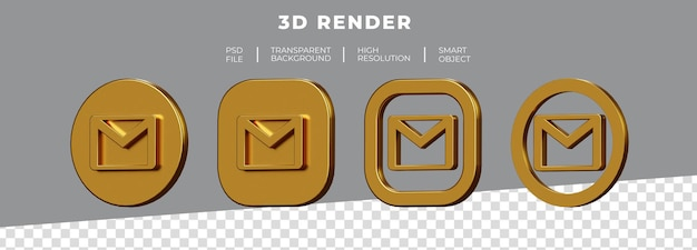 分離された黄金のgmailロゴ3dレンダリングのセット