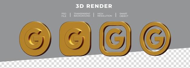 分離された黄金のgoogleロゴ3dレンダリングのセット