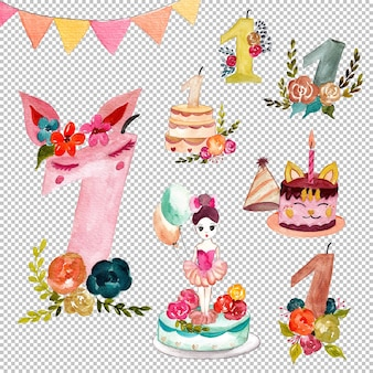 手描きの1歳の誕生日の水彩イラストのセット