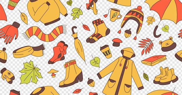 Набор иллюстраций, символизирующих осенний яркий мультяшный детский стиль бесшовные модели