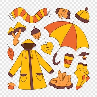 Набор иллюстраций, символизирующих осенний яркий мультяшный детский стиль