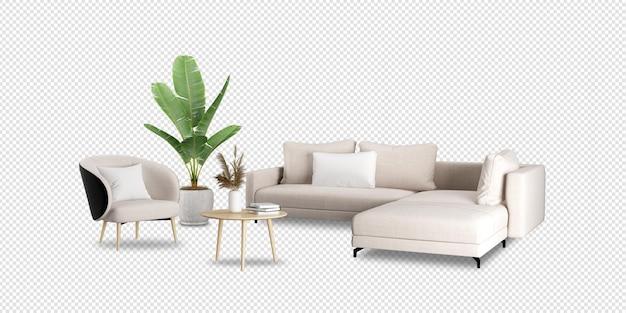 Набор интерьерной мебели в 3d-рендеринге