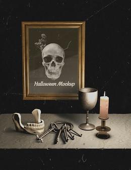 테이블에 인간의 뼈와 키 세트