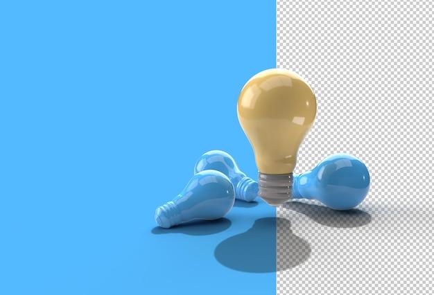 電球の透明なpsdファイルのセット。