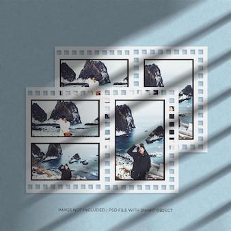 Набор портретной бумажной фотопленки, макет фоторамки и темный фон