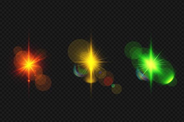 Набор реалистичных светящихся бликов Premium Psd