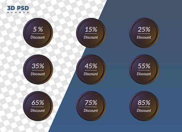 Набор скидок продажи этикеток 3d визуализации значок значок изолированные