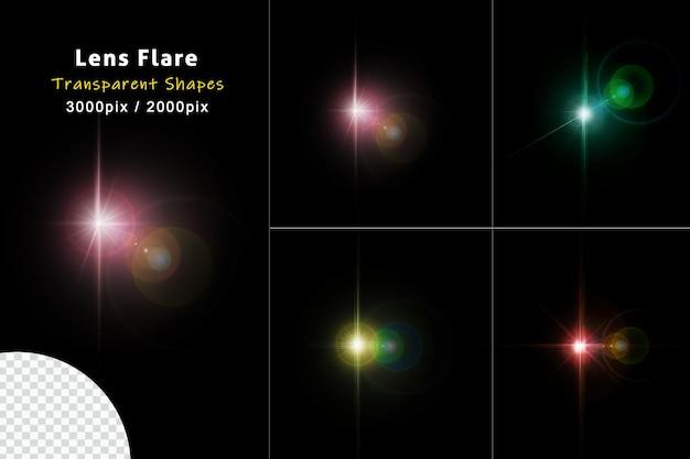 투명한 배경에서 분리된 빛나는 화려한 반짝임과 렌즈 플레어 빛나는 조명 세트