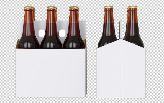 Набор из шести бутылок пустой белой упаковки пива с коричневыми бутылками