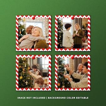 クリスマスの正方形の紙フレームモックアップのセット
