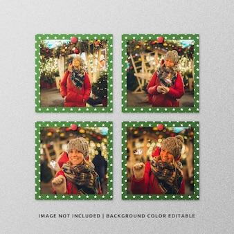 クリスマスの正方形の紙フレーム写真モックアップのセット