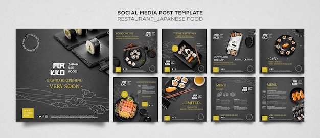 스시 레스토랑 소셜 미디어 게시물 세트