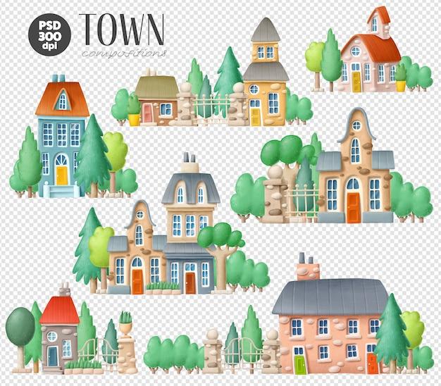 町のイラストのセット