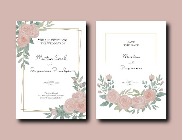 牡丹の花と金のフレームデザインの葉と結婚式の招待カードのセット