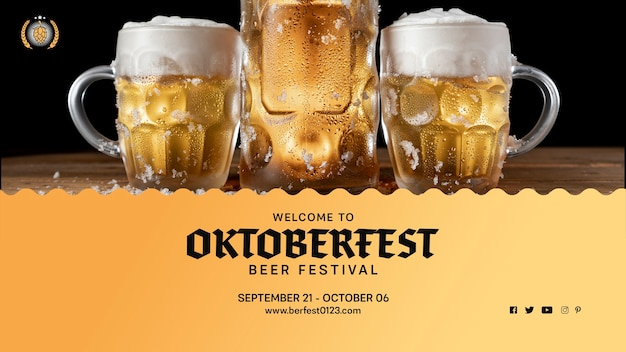 Set of oktoberfest beer mugs with foam