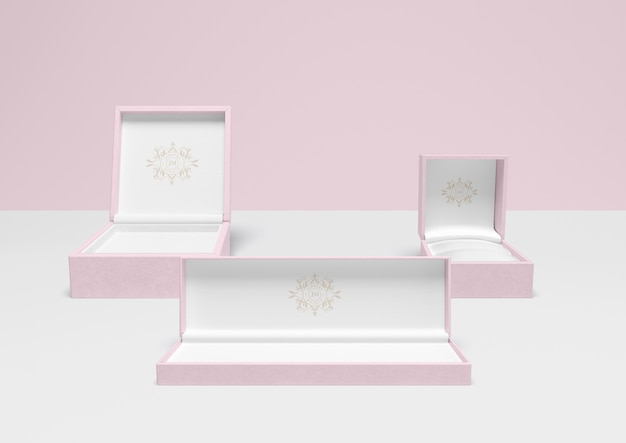 Set of open pink jewellery boxes