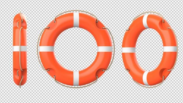 Set of orange lifebuoys
