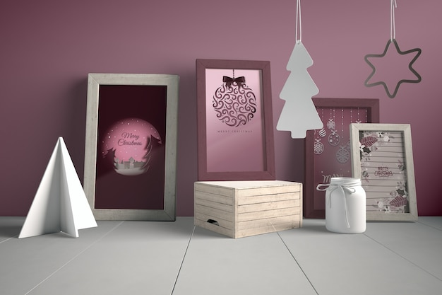 Set of paintings on wall with christmas concept
