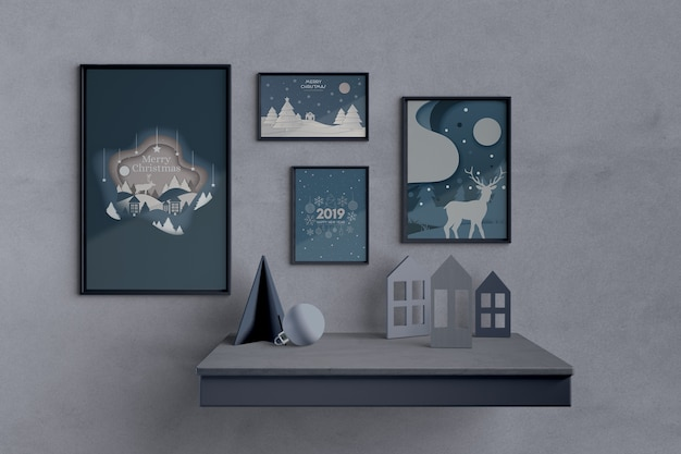 Set of paintings with christmas theme