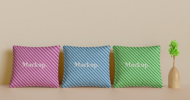 Set pillow or cushion mockup with plant vase