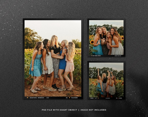 Set of polaroid photo frame mockup