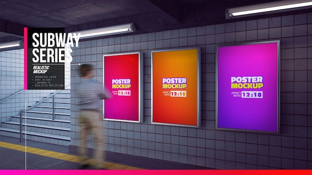 Set of posters mockup in metro station entrance