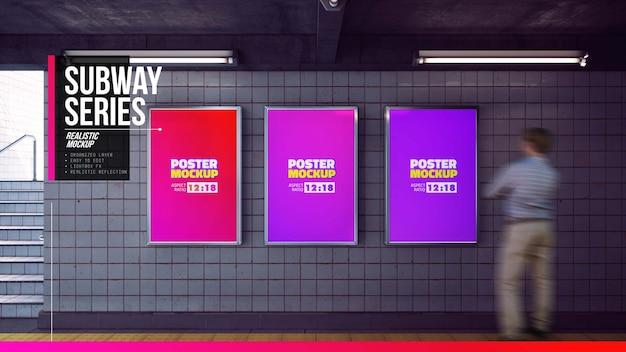 Set of posters mockup in metro station hallway