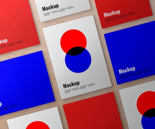 Set di poster su mockup di superficie in legno