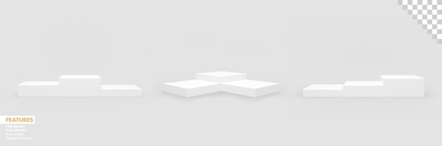 Set of realistic blank product podium scenes with changeable background