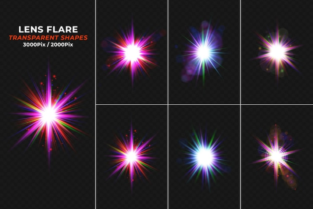 Set of realistic glowing lens flares